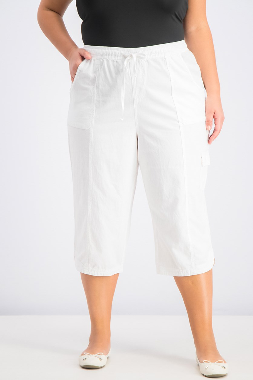 Womens Plus Size Cotton Edna Capris, Bright White