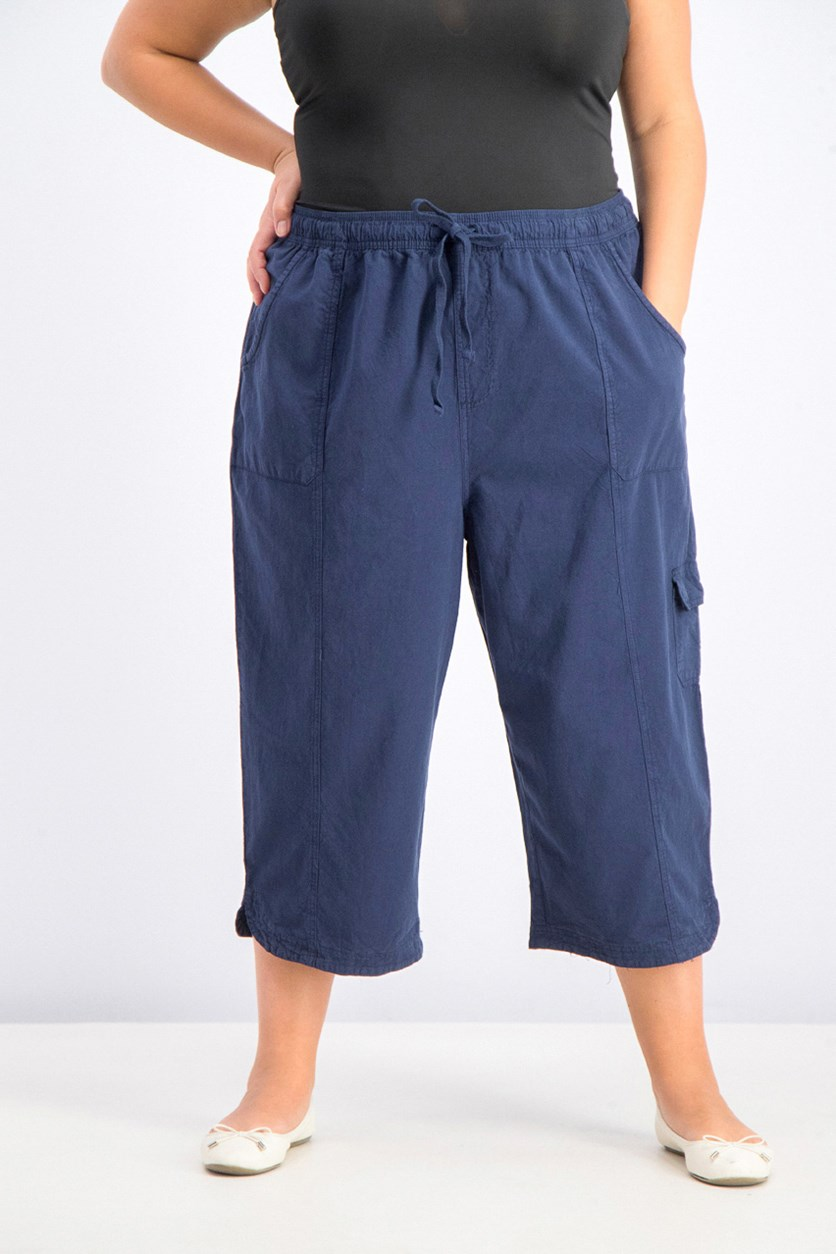 Womens Plus Size Cotton Edna Capris, Interrepid Blue