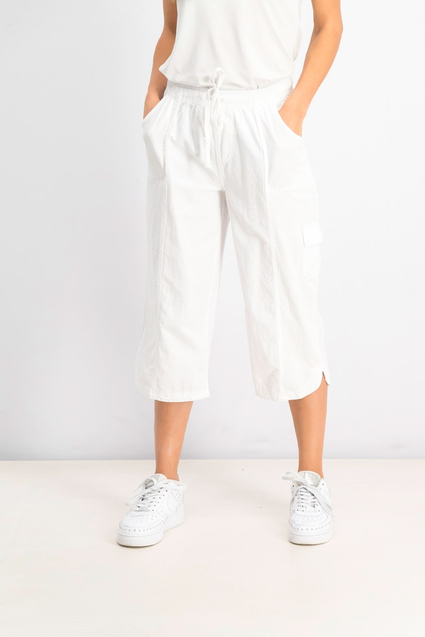 Women's Cotton Cropped Pants, Bright White