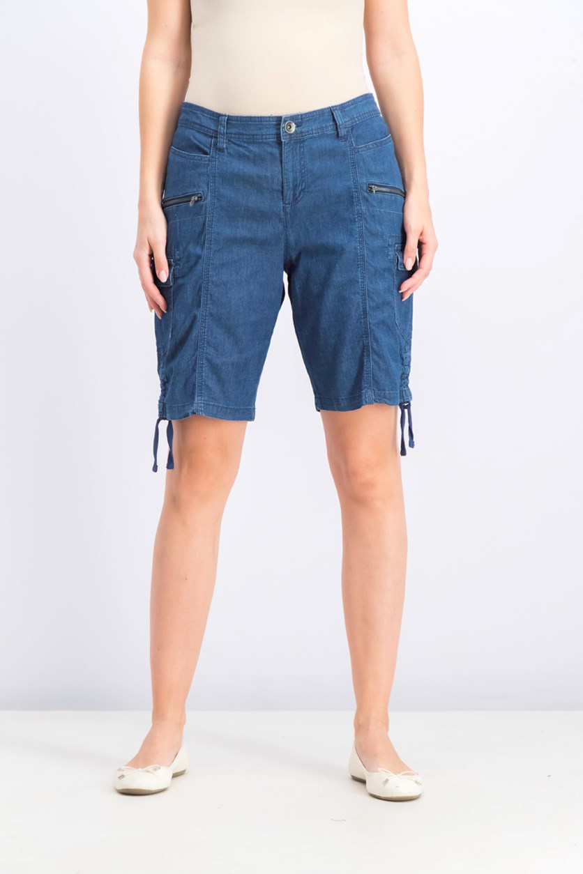 Women's Petite Chambray Cargo Shorts, Medium Chambray
