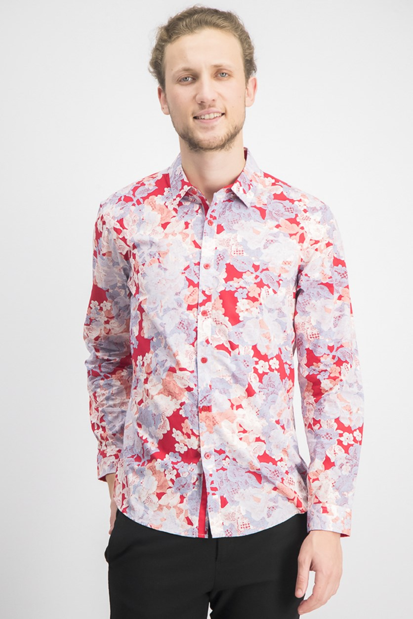 Mens Floral Shirt, Red Combo