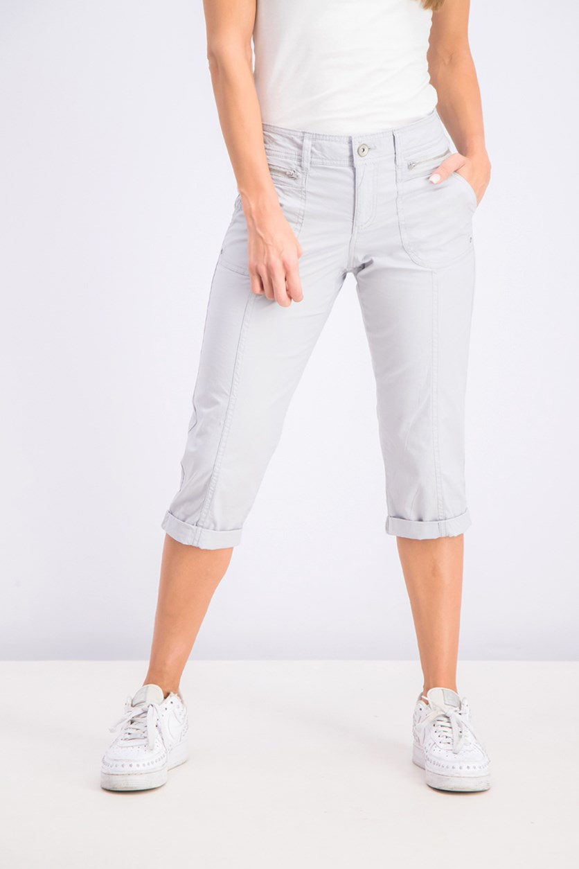 Petite Cuffed Capri Pants, Misty Harbor