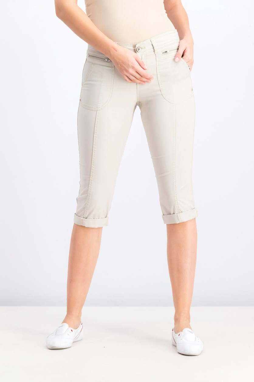Women's Petite Cuffed Capri Pants, Stonewall