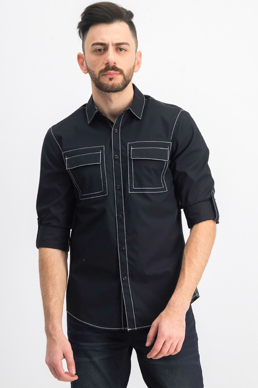 Men's Utility Long-sleeve Shirts, Deep Black