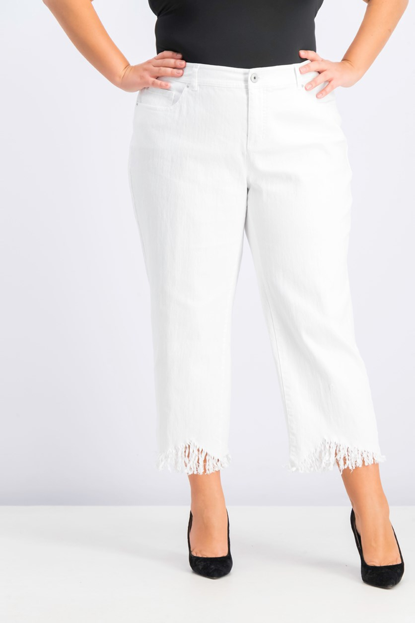 Women's Plus Size Fringed Cropped Jeans, White