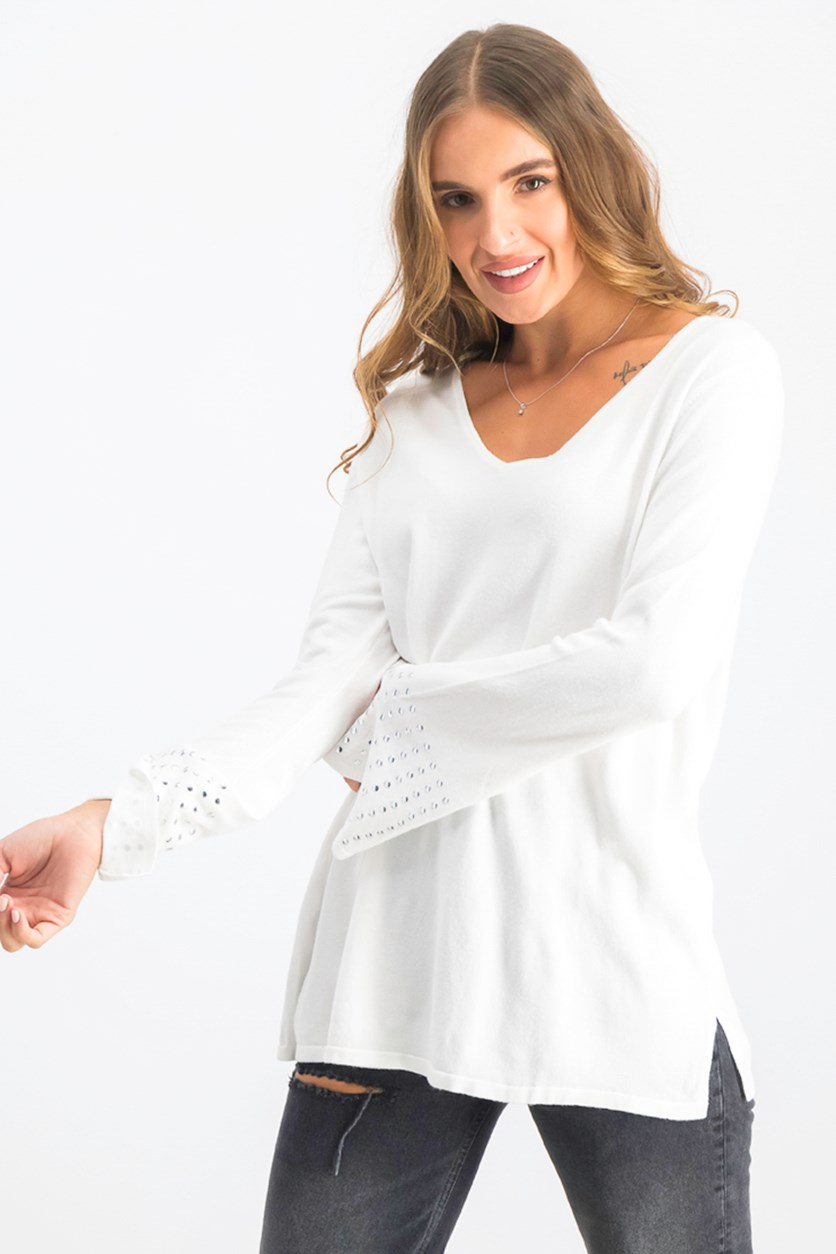 Womens Embellished-Sleeve Sweater, White
