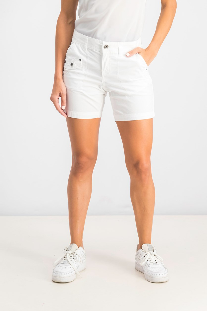 Women's Petite Flap-Pocket Shorts, White