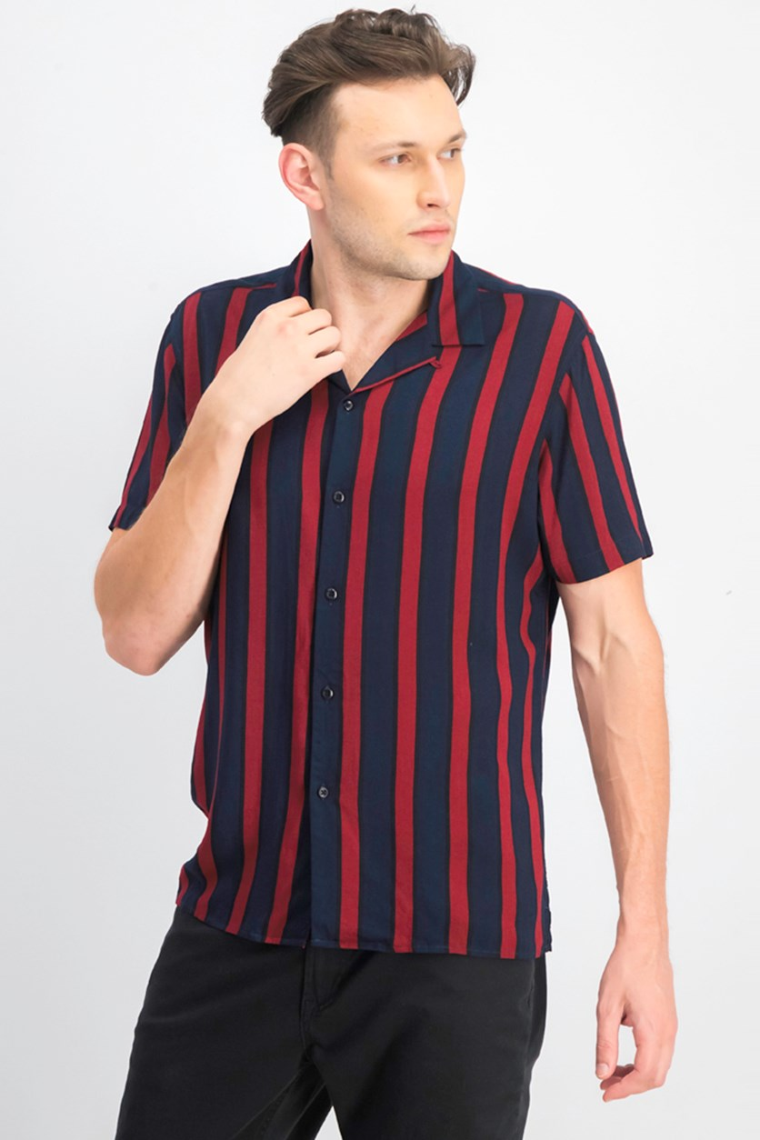International Concepts Mens Striped Shirt, Navy Combo