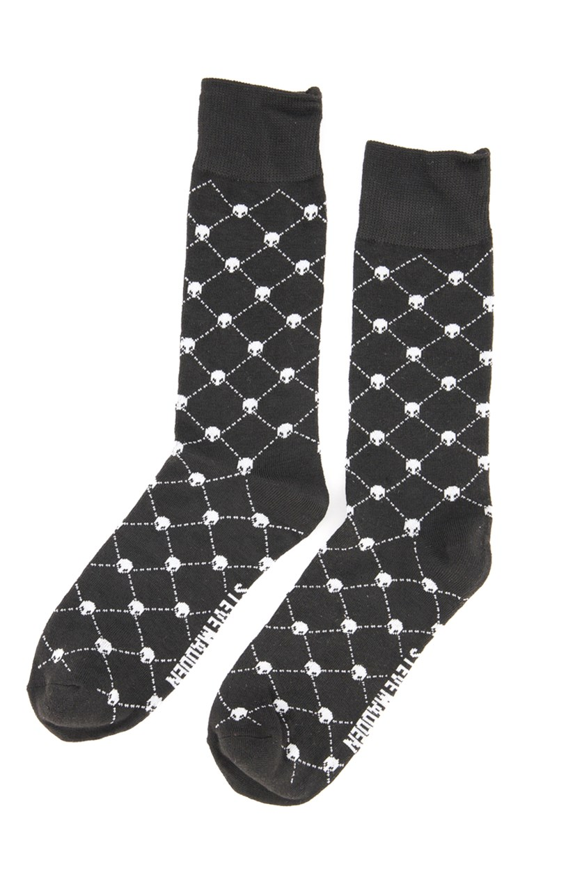Men's 1 Pair Skull Pattern Crew Socks, Black