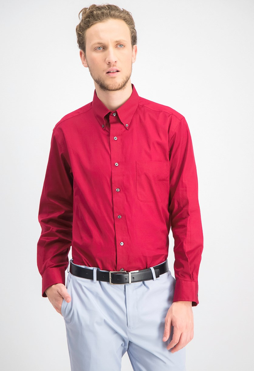 Mens Slim-Fit Stretch Wrinkle, Claret