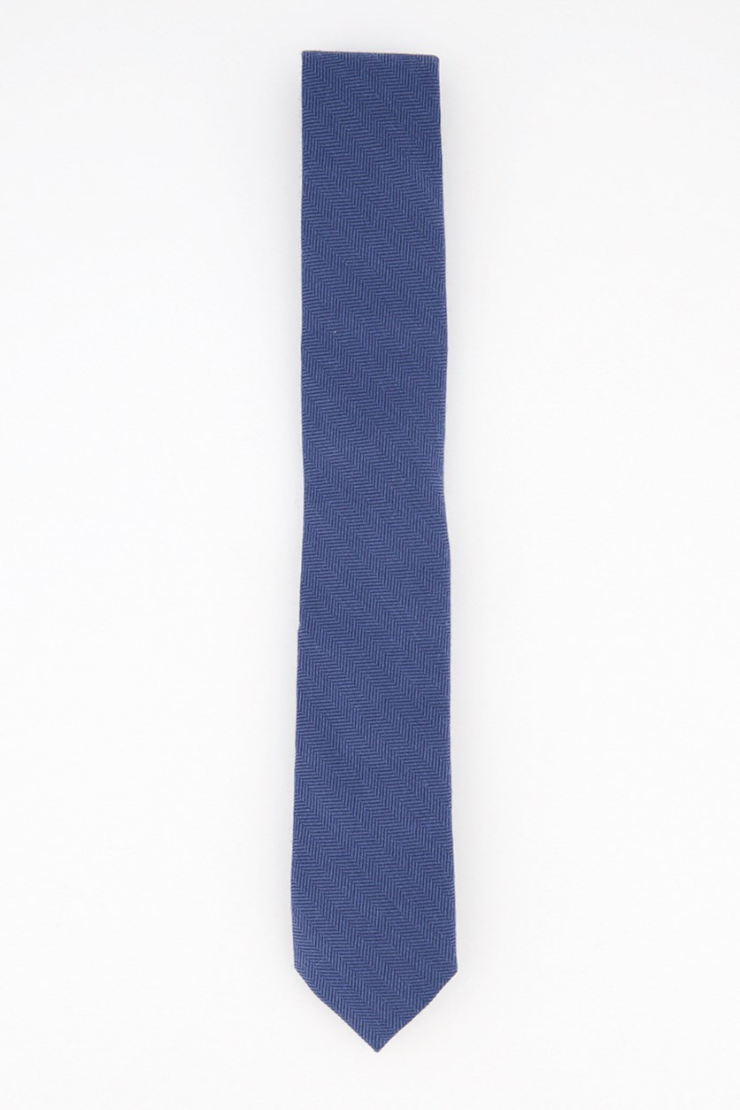 Men's New Herringbone Skinny Tie, Dark Blue