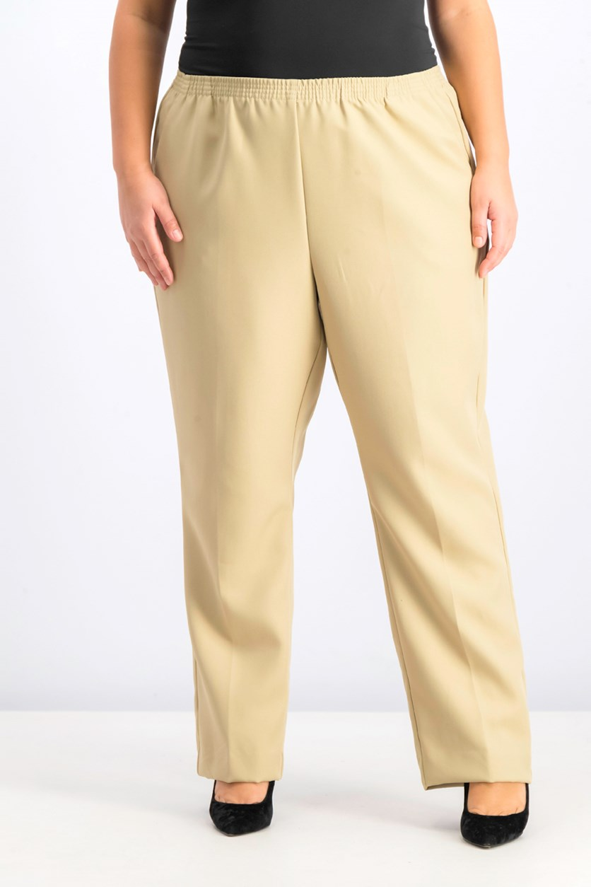 Women's Plus Size Mid-Rise Pull-on Pants, Stonewall