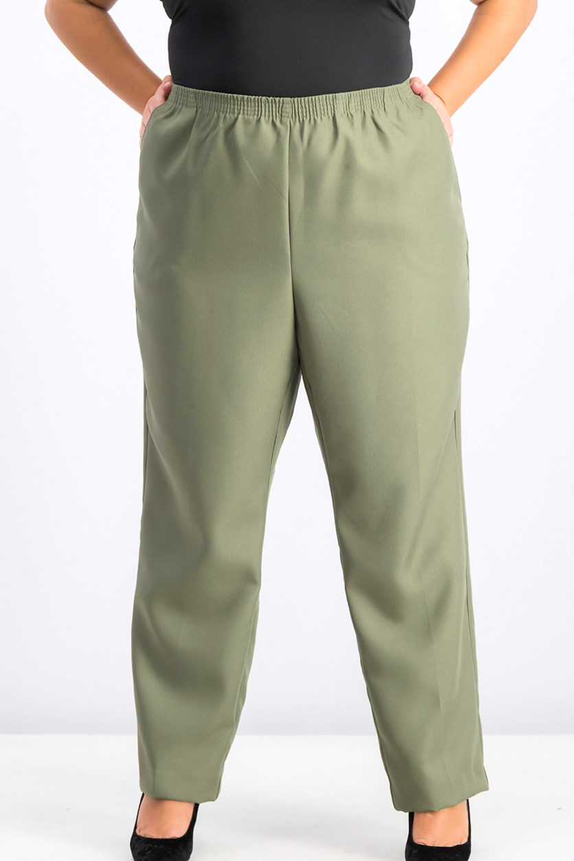 Women's Plus Size Mid-Rise Pull-on Pants, Olive Sprig