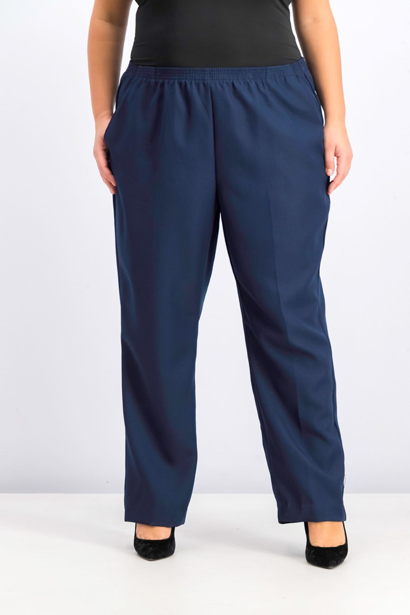 Womens Plus Comfort Waist Pants, Intrepid Blue