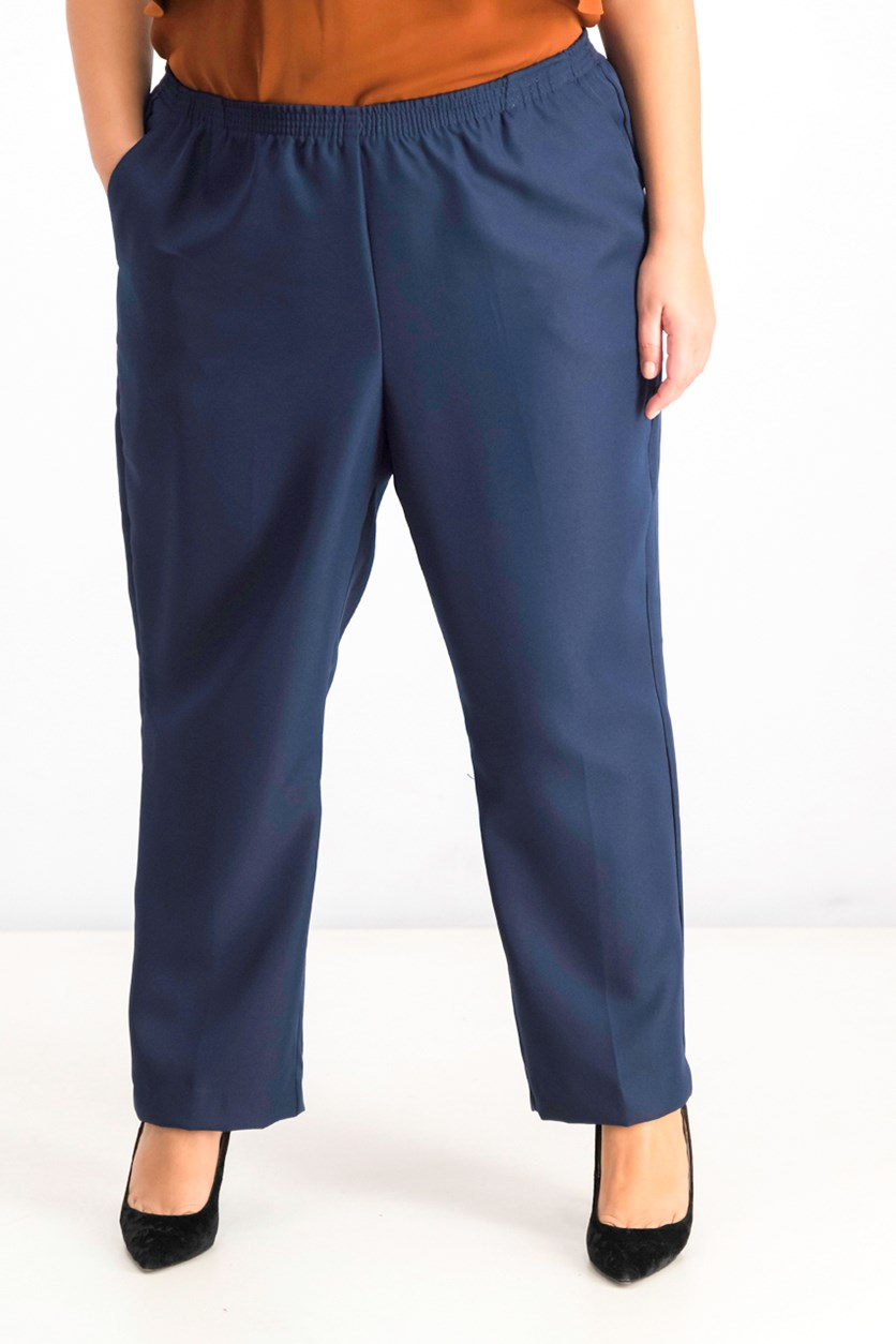 Womens Plus-Size Mid-Rise Pull-On Pants, Navy