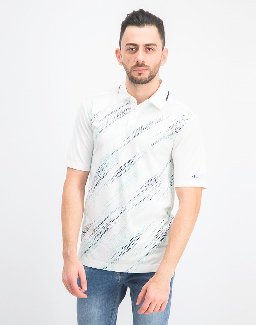 Men's Printed Performance Polo Shirt, Bright White