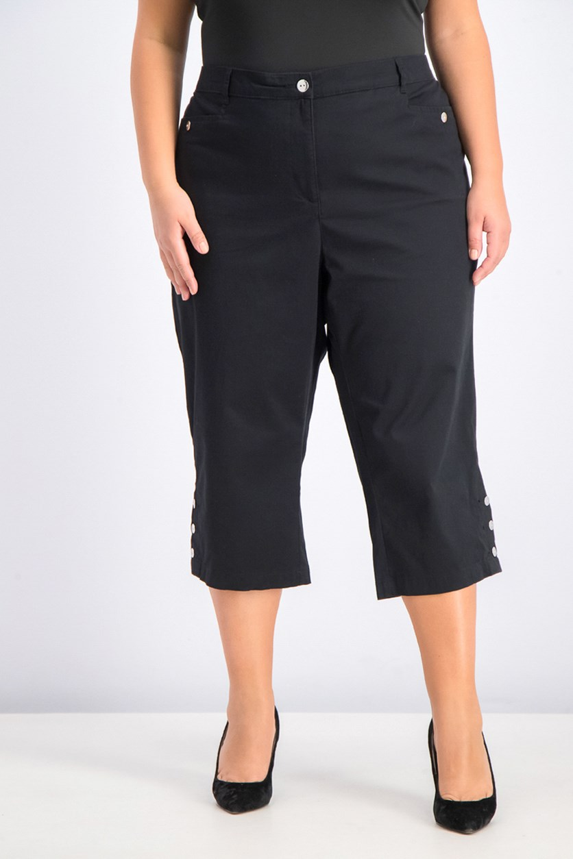 Women's Plus Size Button-Cuff Capri Pants, Deep Black