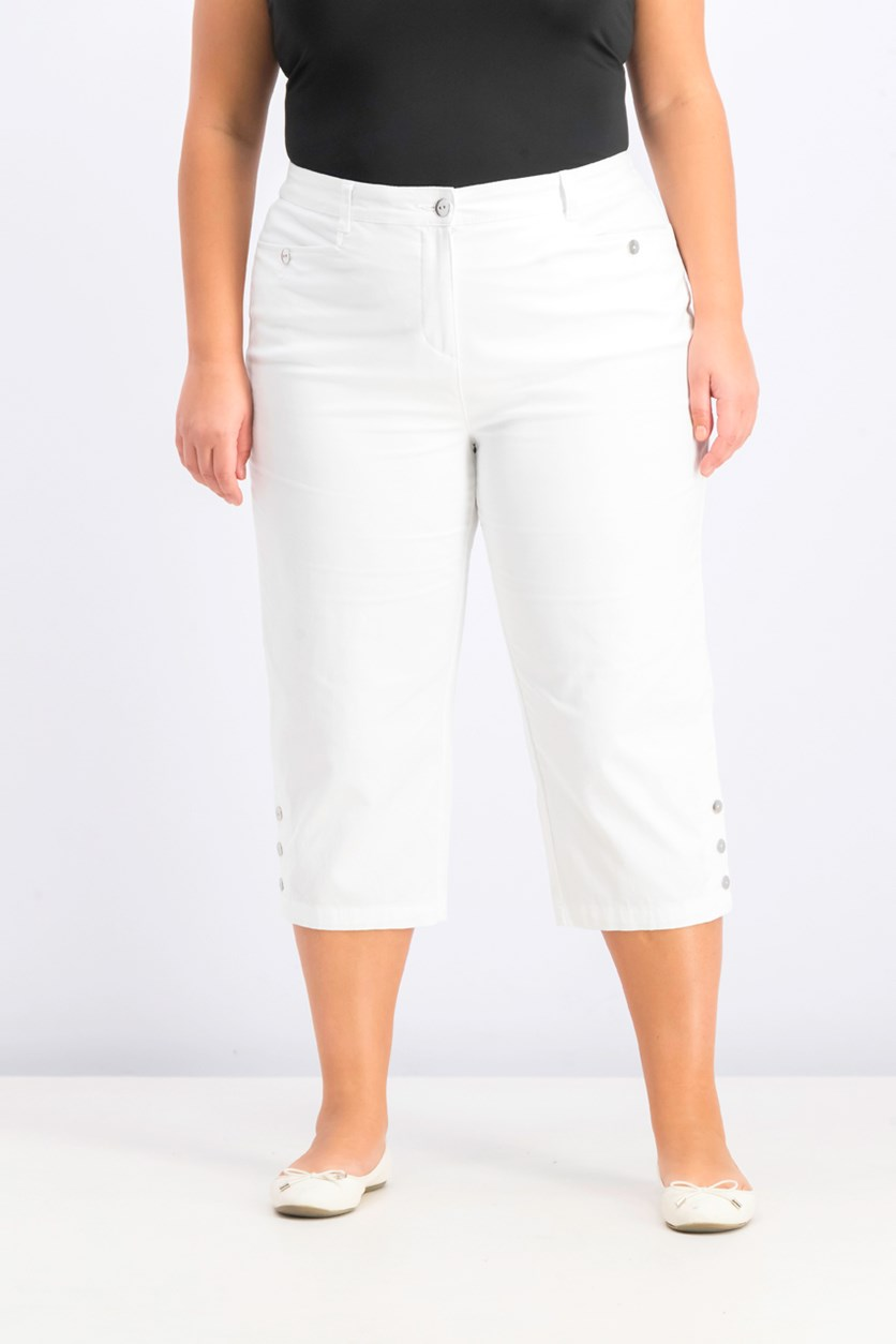 Women's Plus Size Button-Cuff Capri Pants, Bright White