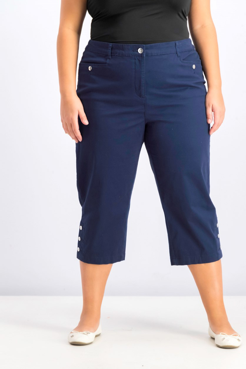 Women's Plus Size Button-Cuff Capri Pants,  Intrepid Blue