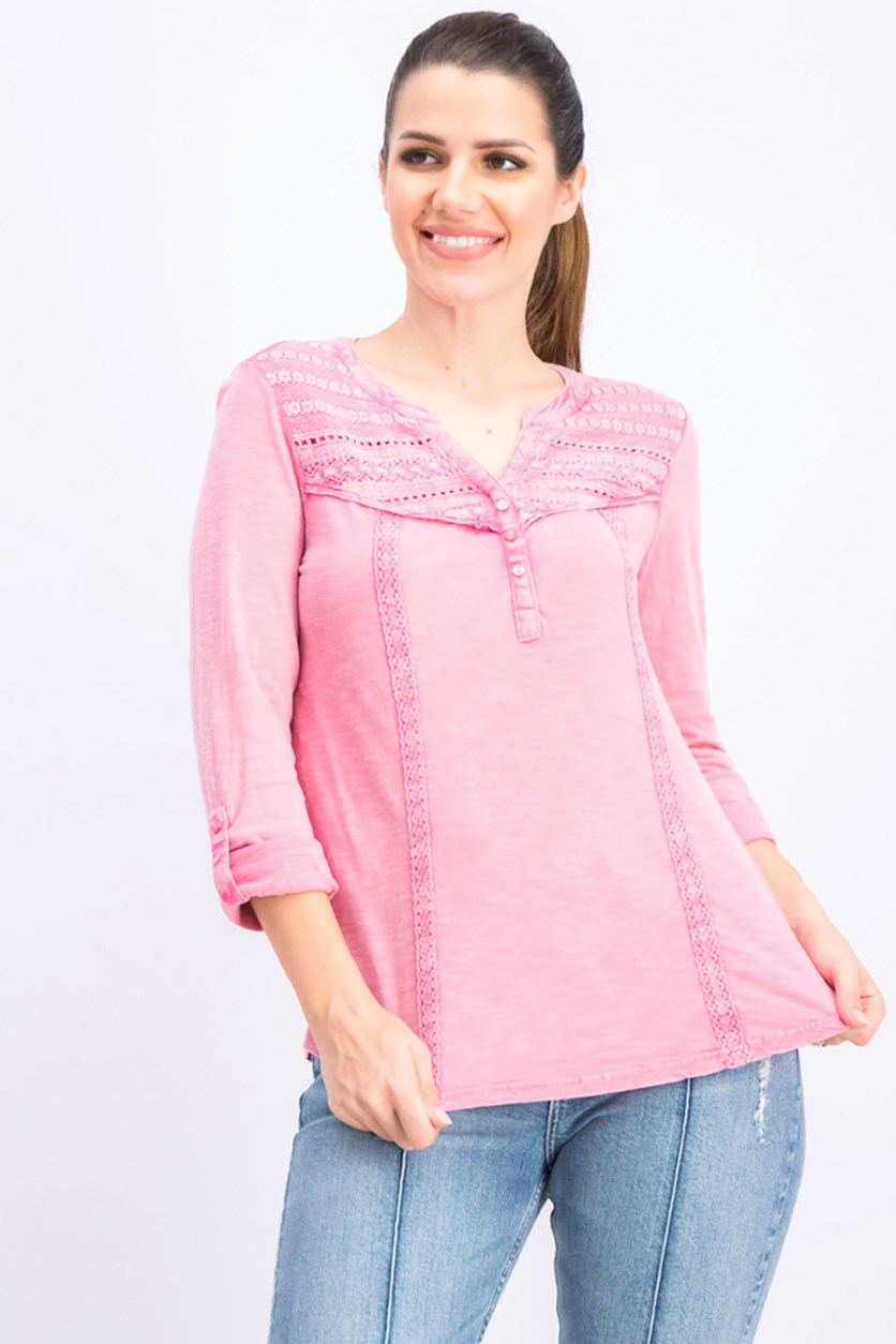 Women's Pull Over Heather Long Sleeves, Pink