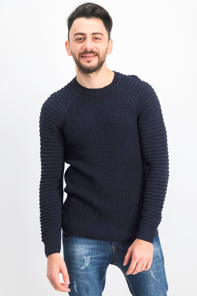 Men's Regular-Fit Ottoman-Sleeve Sweater, Navy