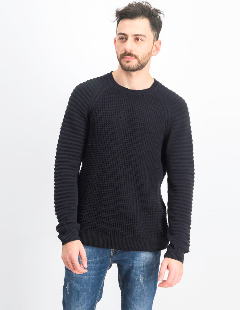 Men's Regular-Fit Ottoman-Sleeve Sweater, Black