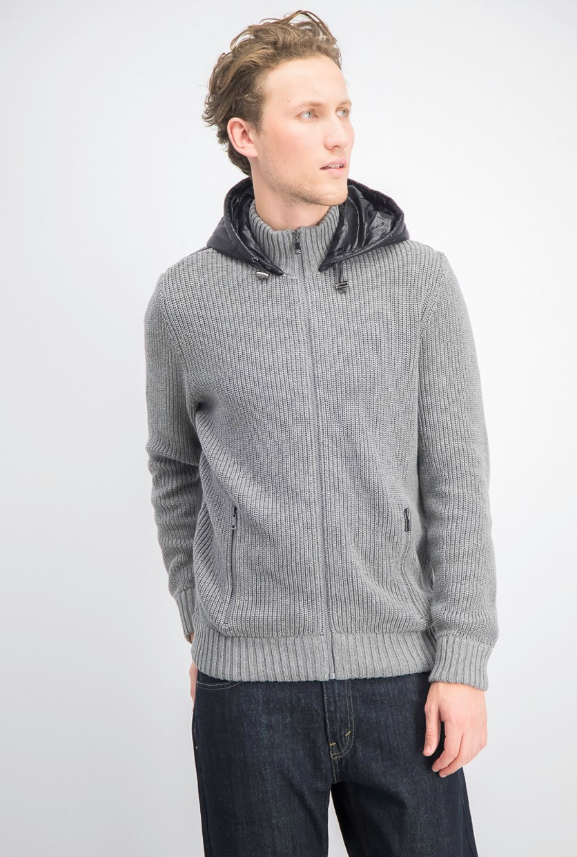 Men's Full-Zip Jacket with Puffer Back, Heather Grey