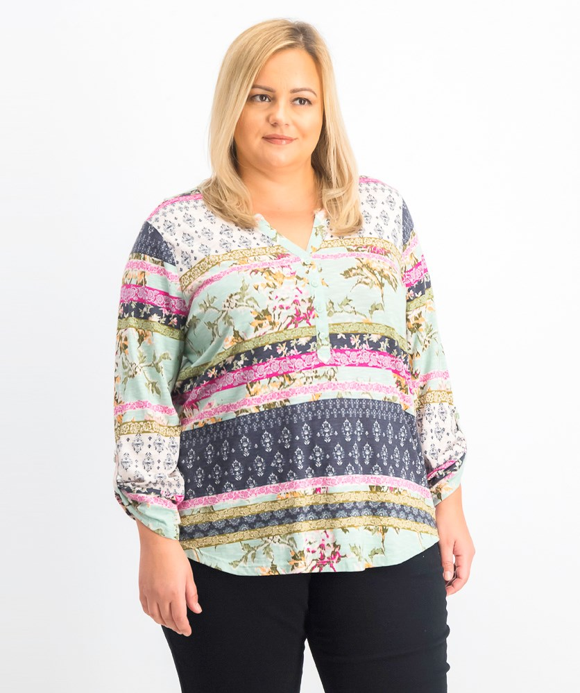 Plus Size Printed Top, Shining Mint