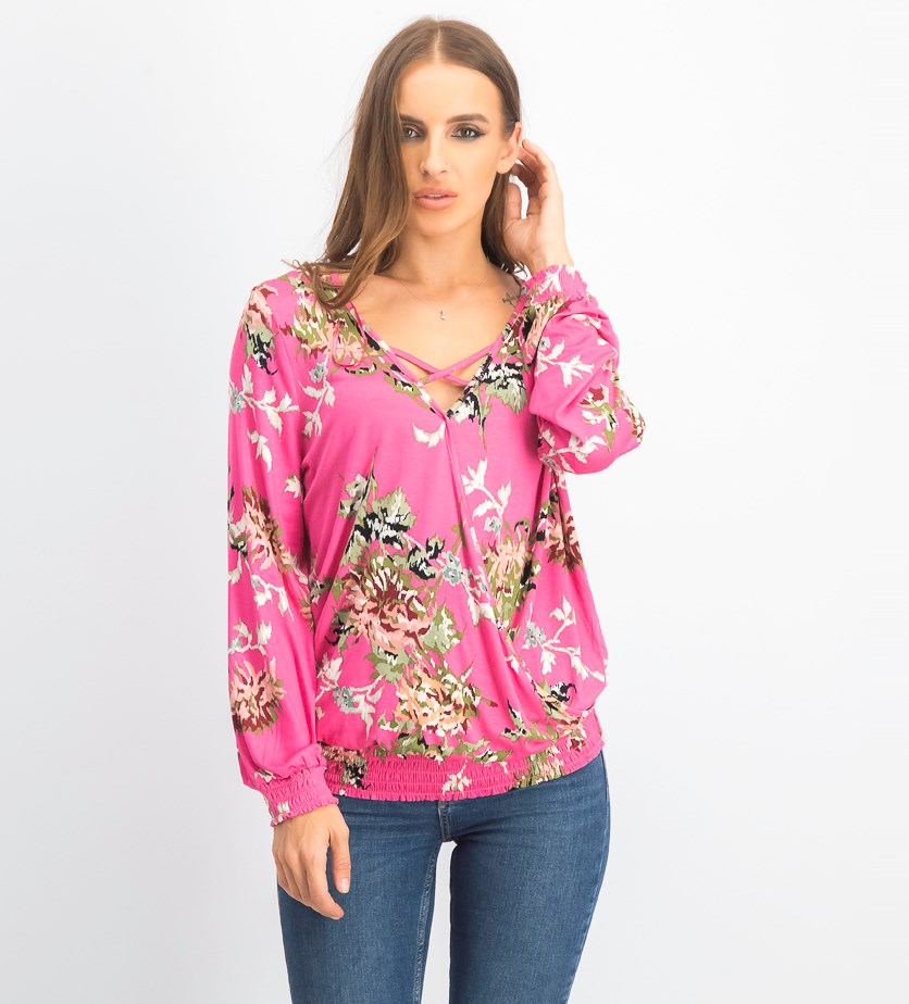 Womens Floral Print Smock Blouse, Pink Combo