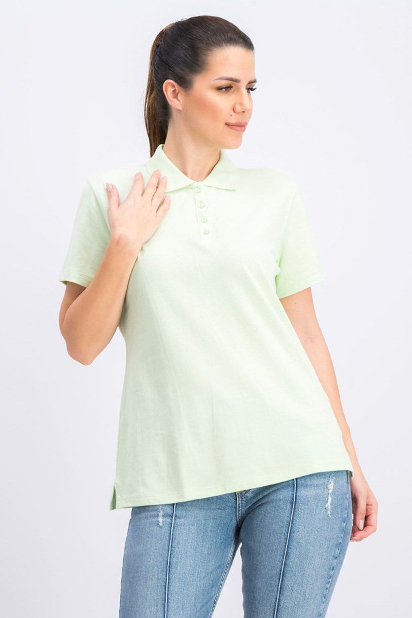 Women's Pullover Polo Shirt, Calm Aloe