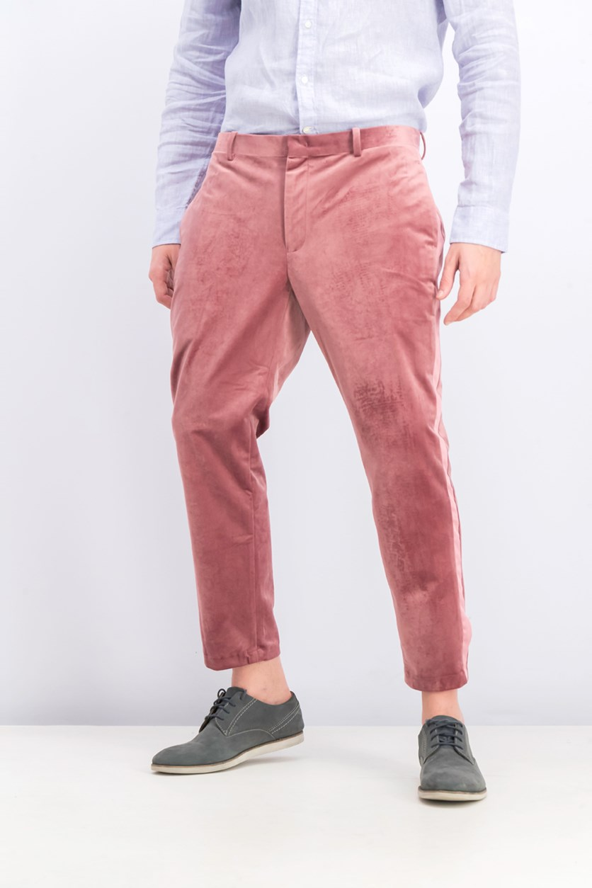 Men's Slim-Fit Velvet Pants, Dusty Rose