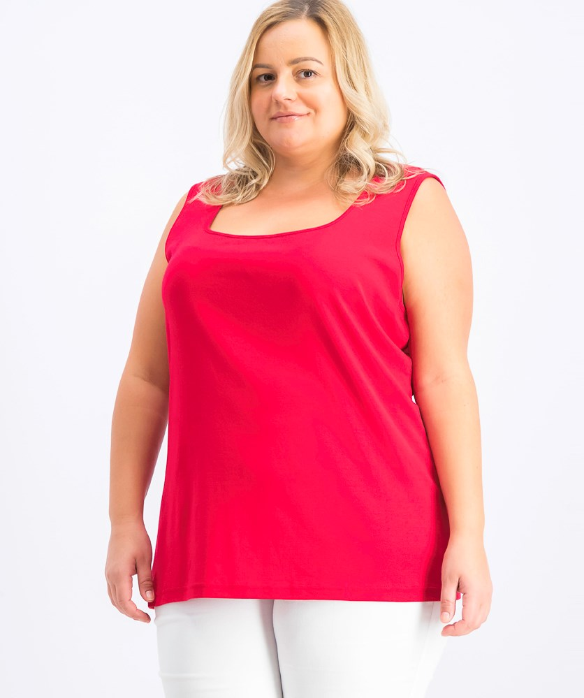 Women's Plus Size Cotton Square-Neck Tank Top, Red Amore