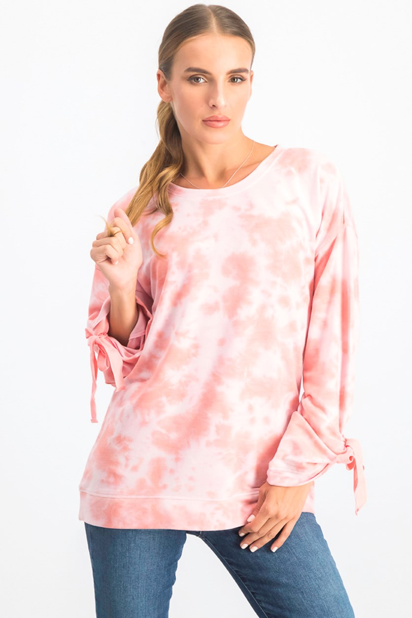 Womens Tie-Dyed Tie-Sleeve Sweater Top, Peach Kiss