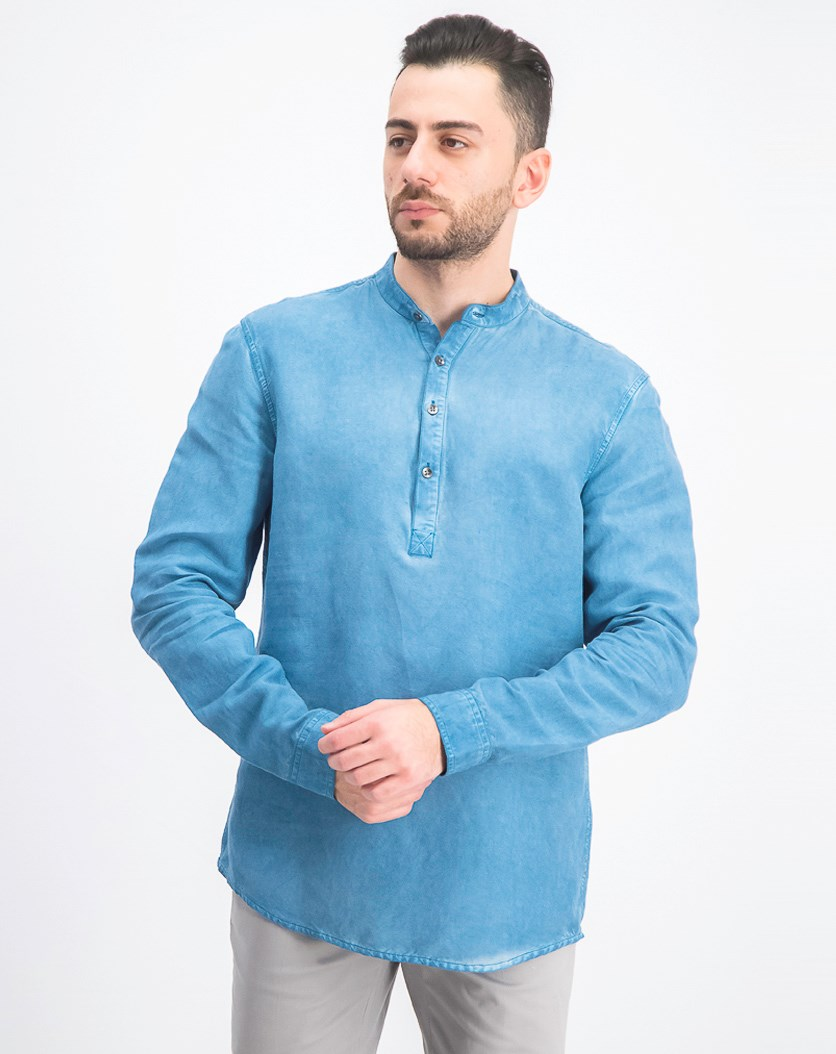 Men's Four-Button Shirt, Aqua Lake
