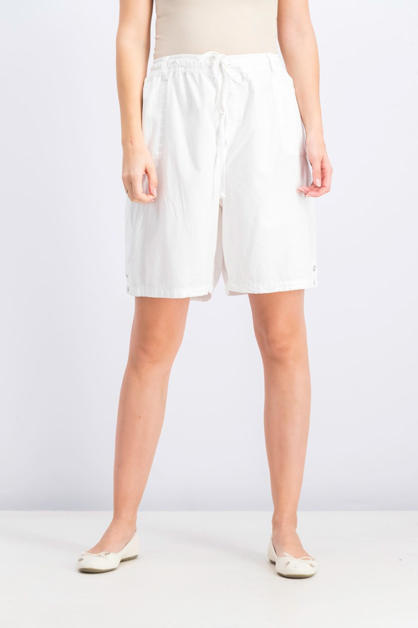 Women's Cotton Drawstring Shorts, Bright White