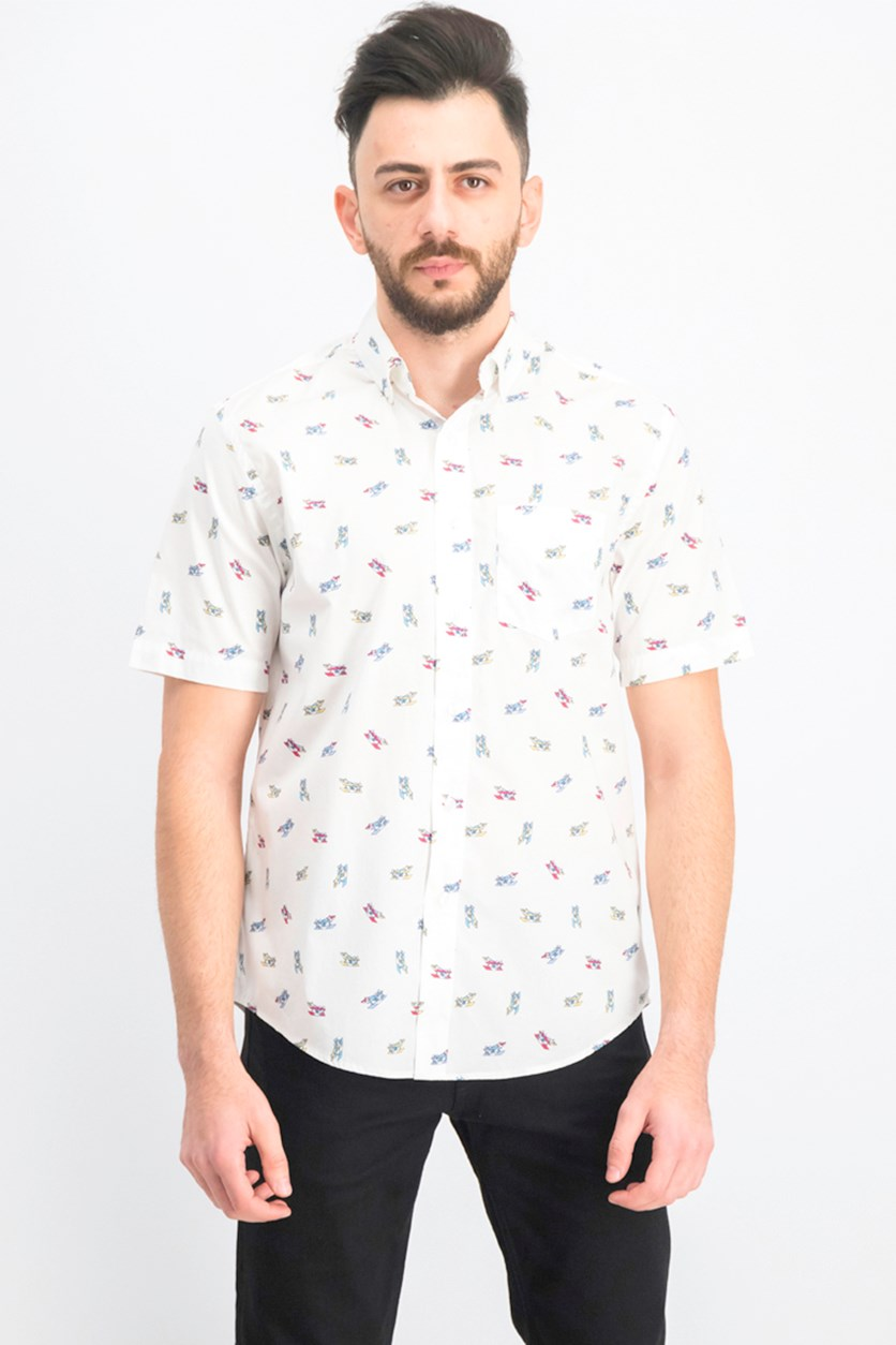 Men's Airplane Graphic Shirt, White Combo