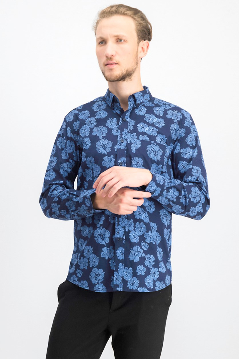 Mens Floral Graphic Shirt, Navy Blue