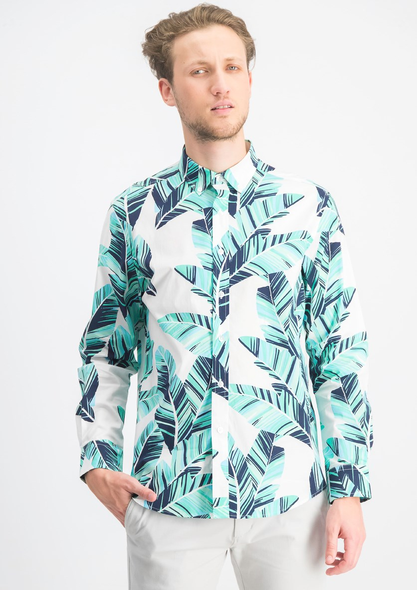 Mens Dora Leaf Tropical Print Shirt, Bright White/Green