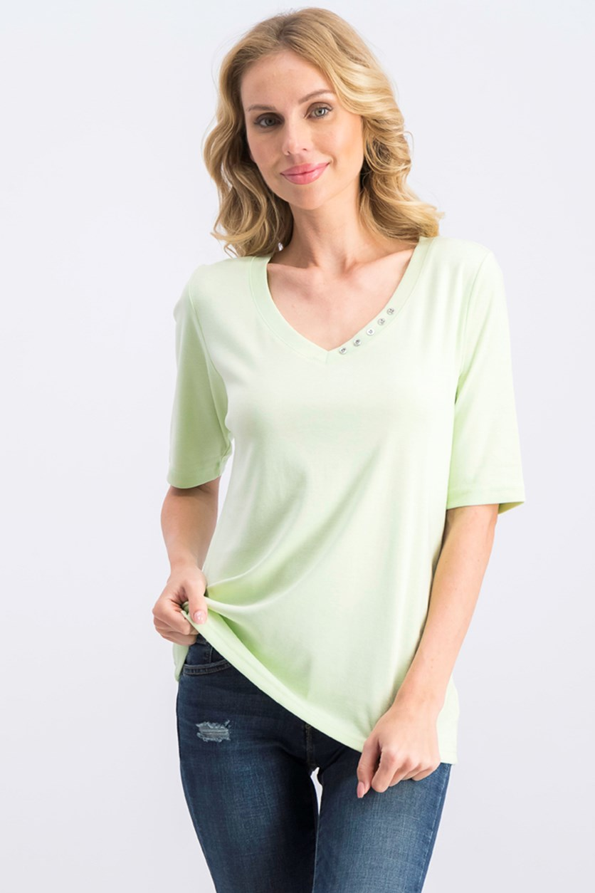 Women's Cotton V-Neck T-Shirt, Calm Aloe