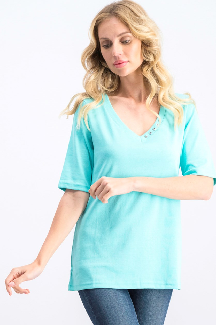 Women's V-Neck T-Shirt, Pacific Aqua