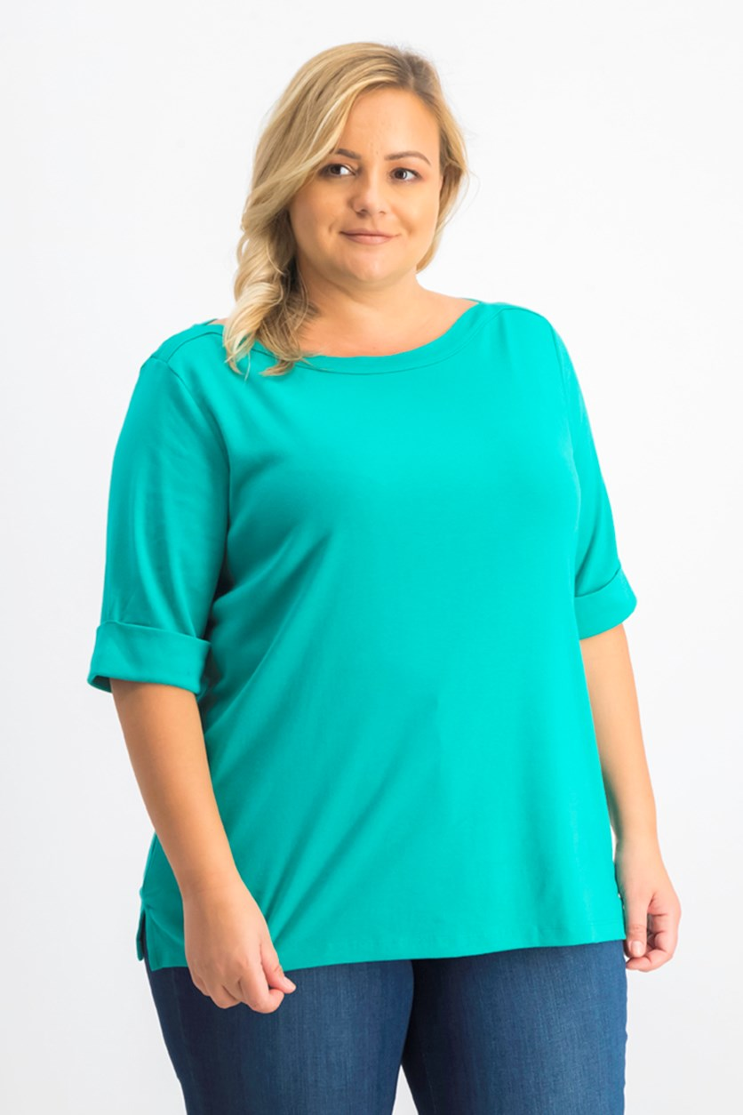 Women's Cotton Elbow-Sleeve Top, Classic Teal