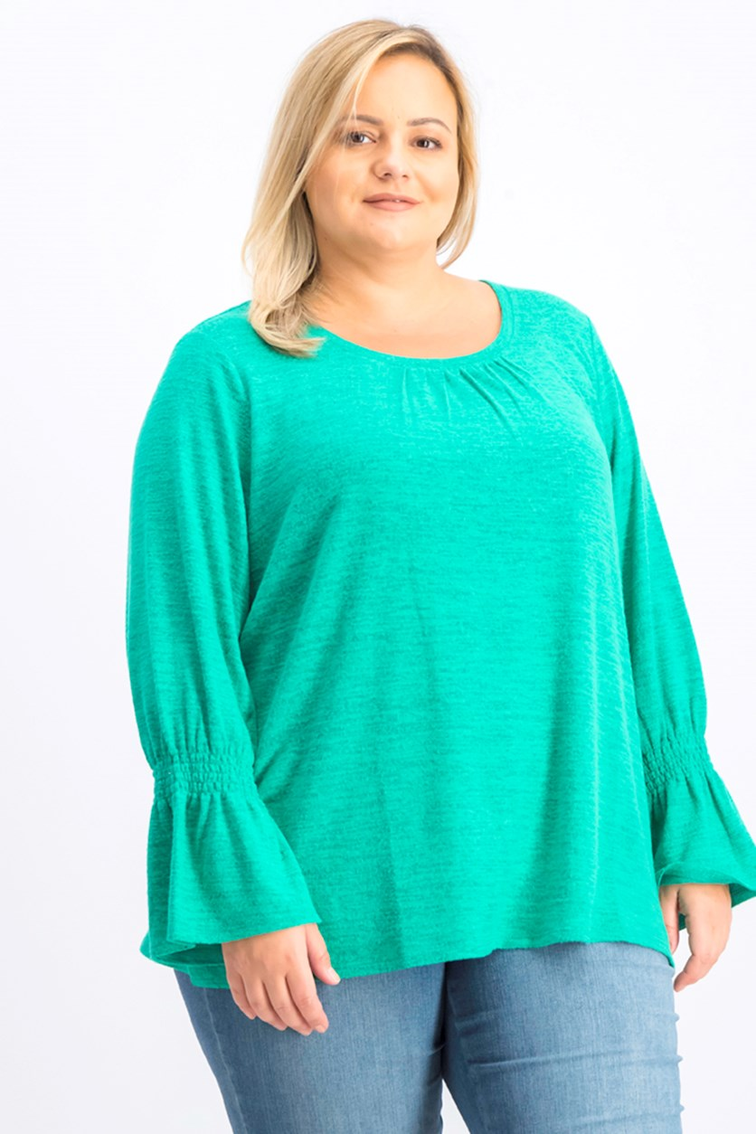 Women's Plus Size Smocked-Sleeve Top,  Peacock Green