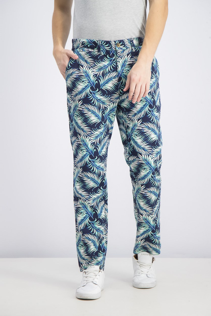 Mens Printed Stretch Straight Leg Pants, Navy Blue Combo
