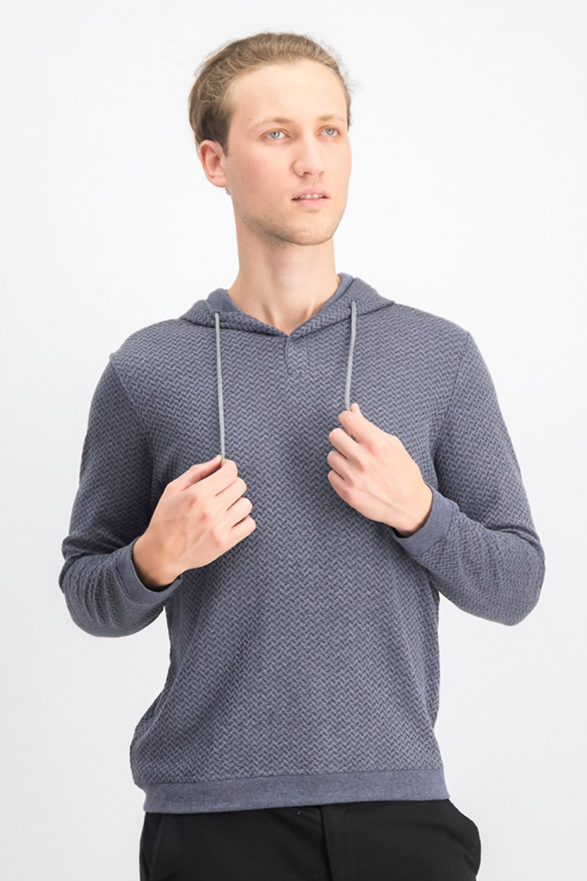 Men's Textured V-Neck Hoodie, Navy Blue Opd
