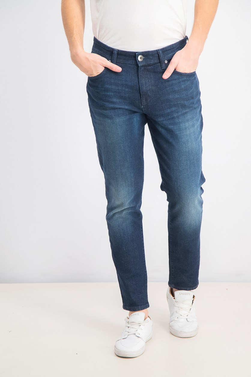 Men's Athletic-Fit Faded Jeans, Dark Wash/Nay Blue