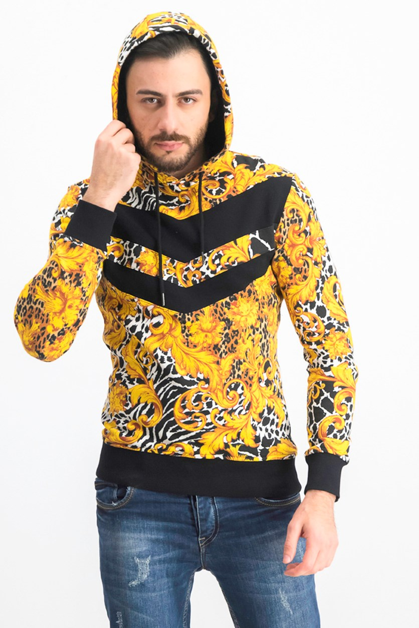 Men's Pieced Animal Print Hoodie Sweater, Deep Black/Gold