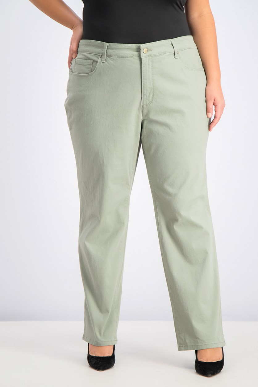 Women's Plus Size Twill Lexington Pants, Palm Olive