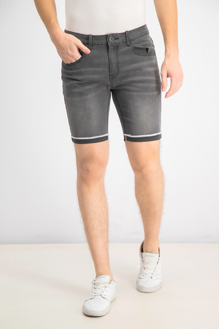 Men's Cuffed Grey Denim Shorts, Grey Wash