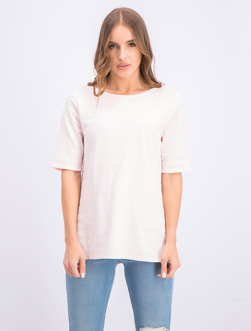 Women's Cotton Texture-Striped Elbow-Sleeve Top, Pink