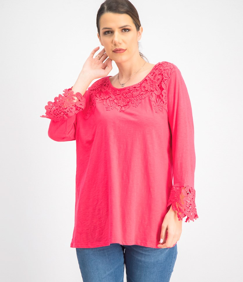 Women's Cotton Embroidered Lace Top, Dark Pink